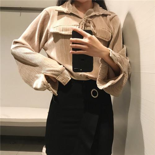 retro velvet blouse 3111