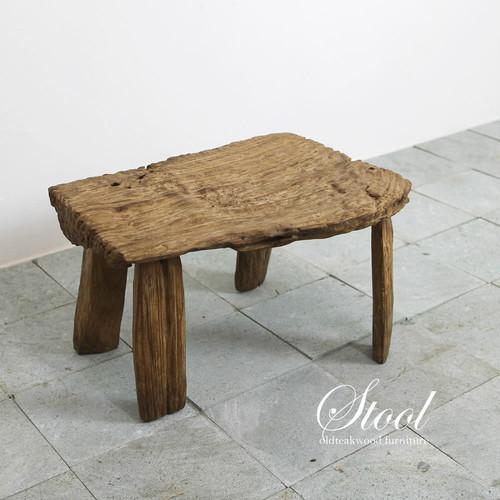 自然の造形美。ごつごつチーク材のスツール兼ミニテーブル B