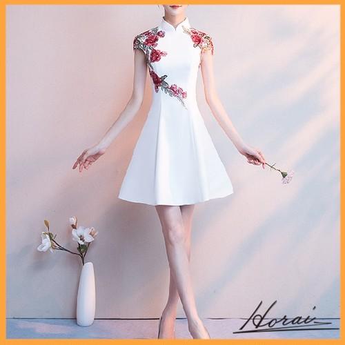 パーティードレス 袖あり ミニ丈 チャイナドレス 刺繍 ワンピドレス パーティー ドレス 結婚式 20代 30代 40代 【お取り寄せ】