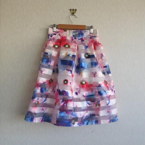 花柄ストライプスカート