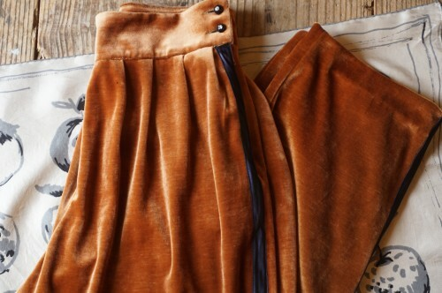 70's velour side-stripe Pants