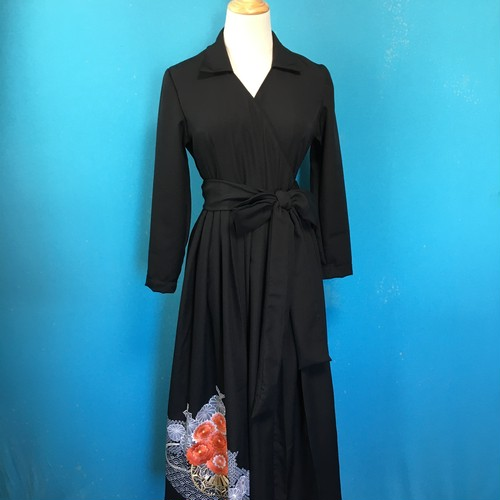 Vintage black kimono wrap dress/ US 6