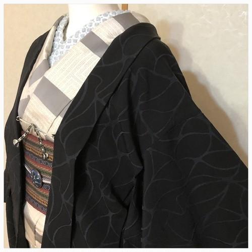 ★美品  羽織 単 黒 一つ紋 裄60 水面 ★縁ちゃぶ c0039