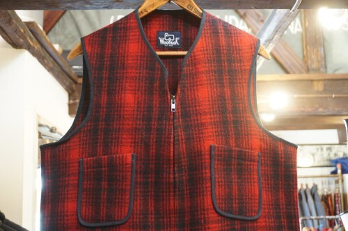 late 70's WOOLRICH red × black plaid wool Vest