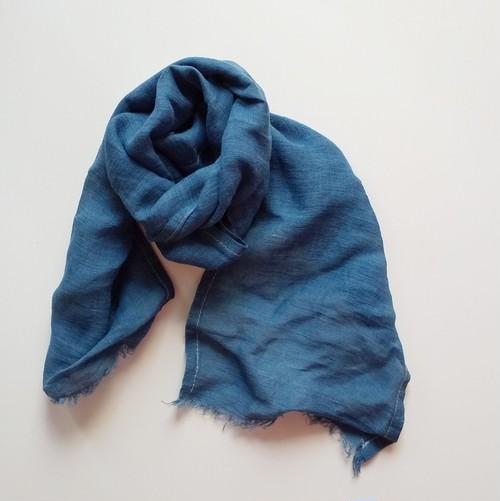 しっとり気持ちいい竹布ミニストール 草木染め マリーゴールド+インド藍染め