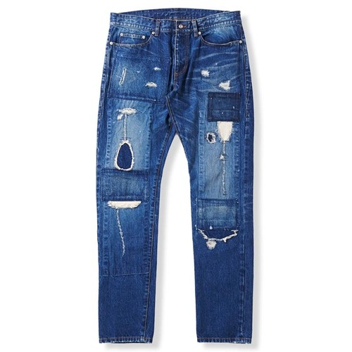 Narrow Silhouette Crash Denim -Indigo