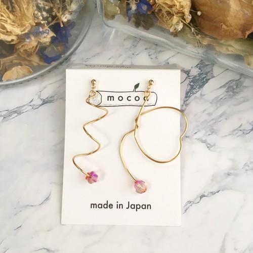 【mocoa】乙女ハートspiralピアス(ゴールド)/パーツ交換可能