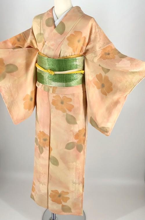 単衣着物と名古屋帯のセット 帯締め付 小紋 中古 単衣 美品 身丈160cm 裄丈64cm