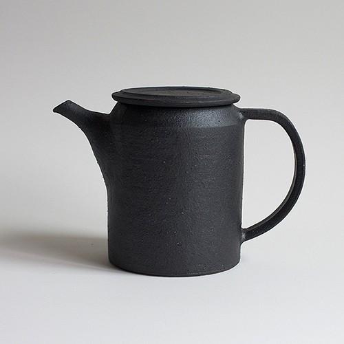 黒鉄釉  ポット(筒型)