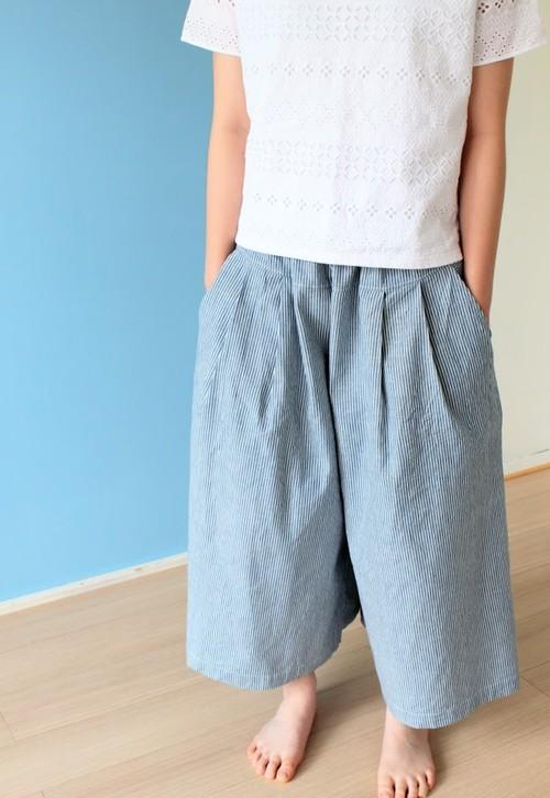 3日間限定 送料無料 ロングキュロットスカート(ストライプ)綿麻 大サイズ ガウチョ ワイドパンツ 夏服