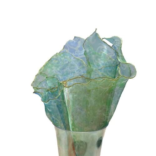 伽羅ポケットチーフ グリーンホワイト #09/GrWh