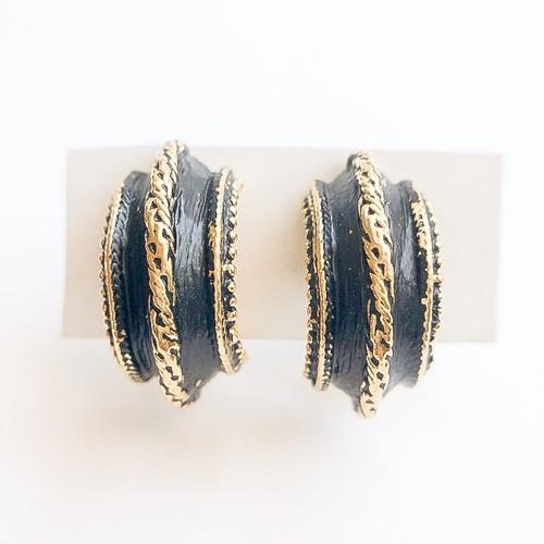 black & gold hoop earring[e-1042]