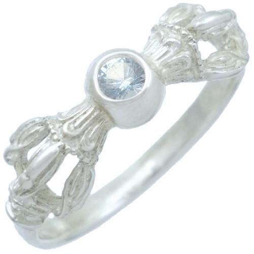 (12月)タンザナイト ホワイト バジュラ シルバー リング 誕生石*BR-1048