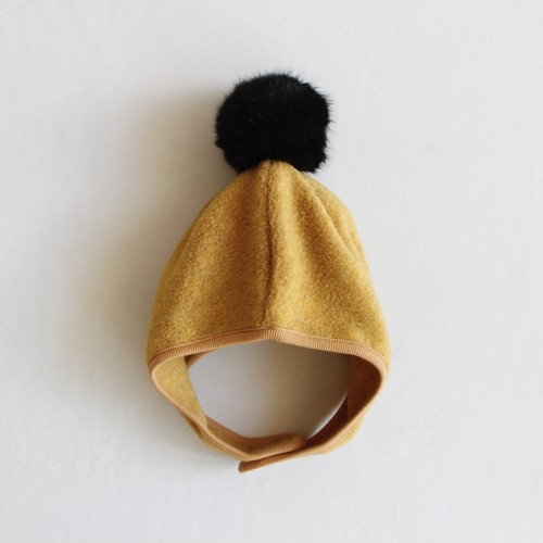 《chocolate soup 2020AW》FLEECE POMPOM BONNET / yellow