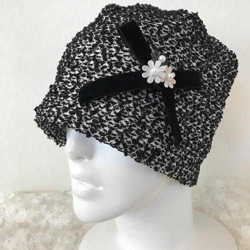 お花とベルベットリボンのケア帽子 リボンヤーンツィード