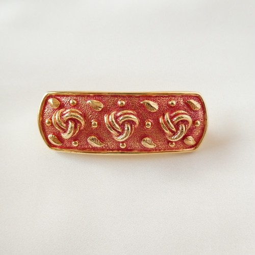 80s ヴィンテージ ヘアバレッタ abstract vintage hair barrette red