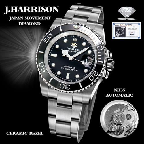 【J.HARRISON】JH-019SB 手巻き付&自動巻 国産S社ムーブ仕様 1石天然ダイアモンド