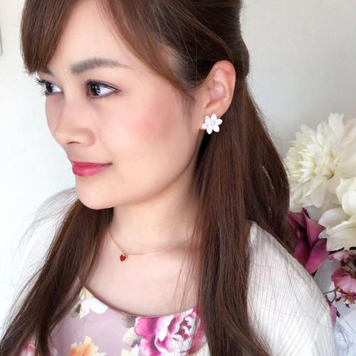 小花ピアス(ホワイト・ピンク・ミント)
