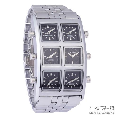 【MS-13】腕時計 6TIME ZONE シックスタイムゾーン (カラー:シルバー×ブラック)[限定100本のみ]