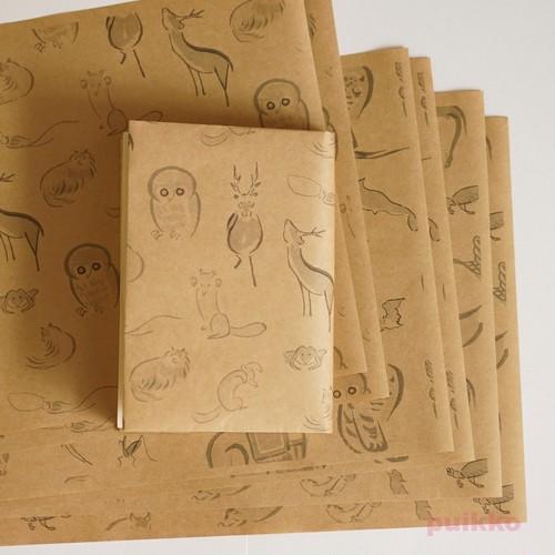 紙製ブックカバー 鳥獣略画式(モノクロ)