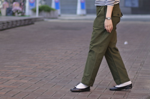 【maillot】military n/c baker pants col.OLIVE
