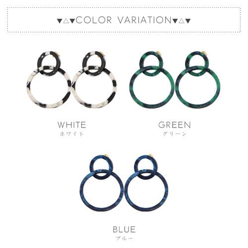 【ピアス】全3色!マーブル2連リングデザインピアス