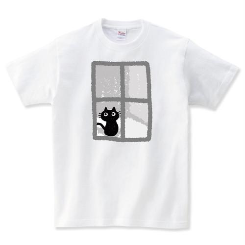 猫と窓 Tシャツ メンズ レディース 半袖 大きいサイズ