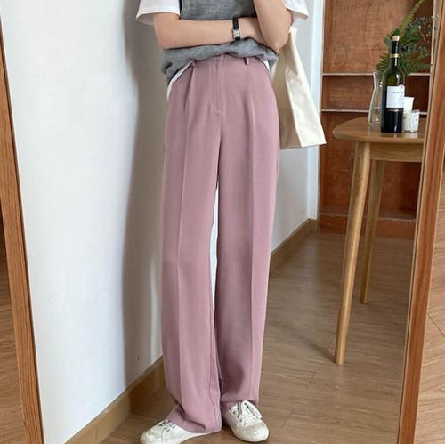 ワイドパンツ 韓国 ファッション レディース ロング ハイウエスト きれいめ カジュアル シンプル 大人可愛い 春夏