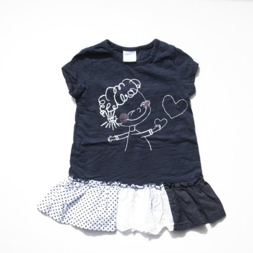90~140㎝ 韓国子供服 手書き風女の子 ワンピース