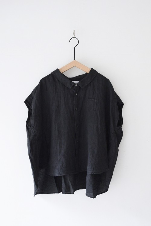 【ORDINARY FITS】 LINEN BARBER NO SLEEVE SHIRT/OF-S037