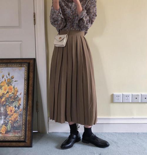 プリーツスカート ロング ハイウエスト フレア カジュアル 大人可愛い 韓国 オルチャン ファッション