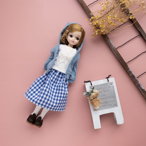 【3点セット】パーカーコーデ(ブルー青)リカちゃん服