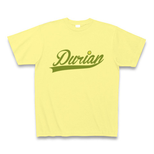 送料無料 ドリアンTシャツ Durianロゴ ライトイエロー  おもしろい パロディTシャツ【DTLGLY】