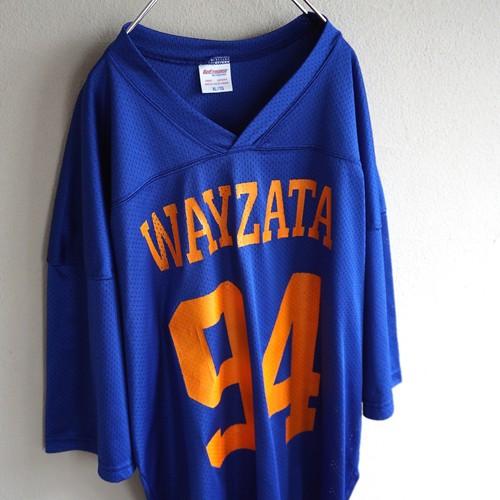 1990's CANADA製 [Performance] 両面ビッグナンバリング メッシュホッケーゲームシャツ ブルー×オレンジ 表記(XL)
