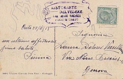 古絵葉書エンタイア「Piani di Creto」(1913年)