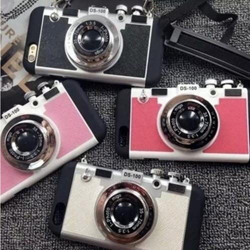 カメラ風 iPhoneケース 首ストラップ付き4色 i9001