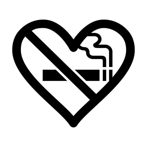 ハート型の禁煙マーク カッティング ステッカー シール