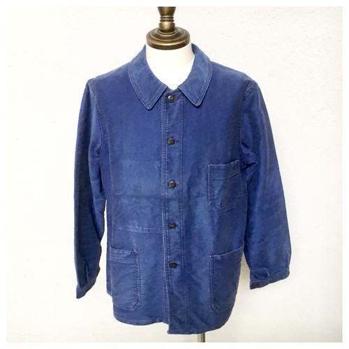 1950s French Work Jacket Moleskin L'ange Blue