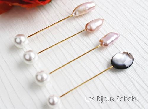 パールのバトン・ピンク淡水真珠のピンブローチ