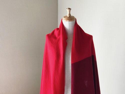 純カシミヤのふわふわBi-colorショールストール Red/Wine