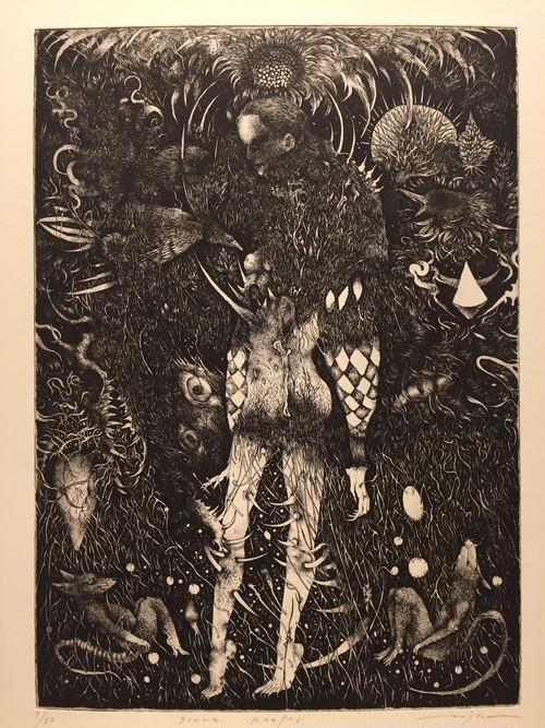 生熊奈央 銅版画「Grave keeper」29.5×21cm(四つ切額付) エッチング /エディション6/30(2015)