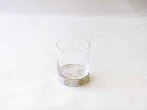 九谷焼 × 江戸硝子 ロックグラス 白粒 鉄仙