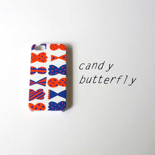 【iPhone / Android 各機種専用タイプ】側表面印刷*ハード型*スマホケース「candy butterfly ( red × blue ) 」● 受注生産