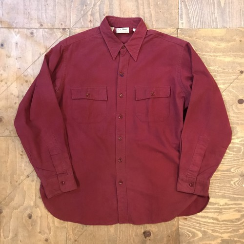 "L.L.BEAN chamoiscross shirts L/S ""Red"" UT-566"