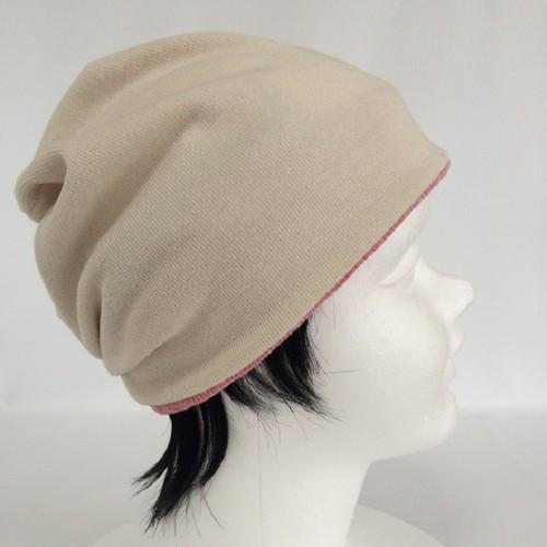 """Kid's ニット帽子"""" つけ毛付き:wig/ショート/オフホワイト 男女兼用"""