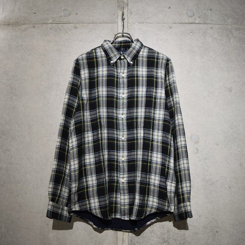 POLO RALPH LAUREN CLASSIC FIT CHECK SHIRT / NAVY x GREEN
