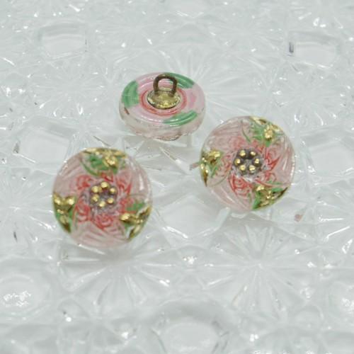 【チェコガラスボタン】6枚の葉・ピンク ::: 特小1.4cm