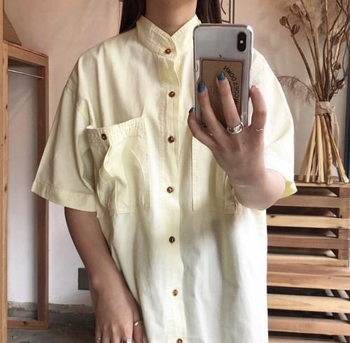 stand collar lemon yellow shirt