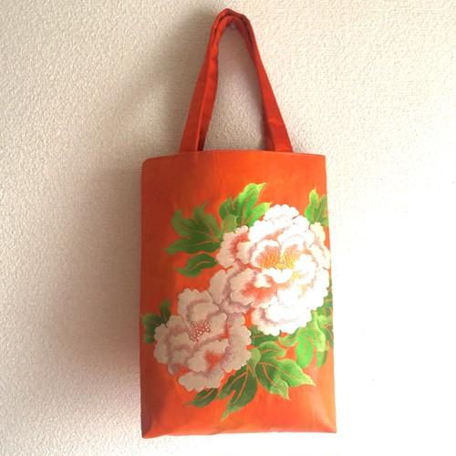 【オレンジに白牡丹】本帯のA4バッグ