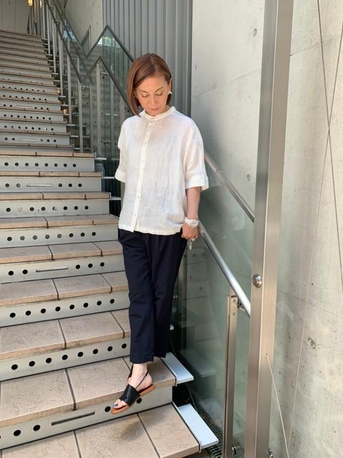 WOMENS:HEAVENLY【ヘブンリー】リネンドットバンドカラーシャツ(ホワイト/FREE)